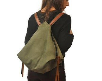 Backpack in stonewashed canvas,everyday bag,women's backpack,shoulder bag ,with leather details,NINA