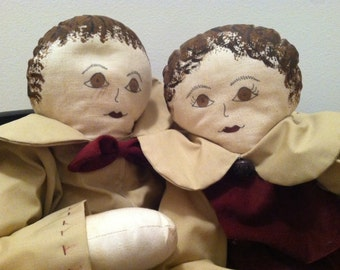 Two Vintage handmade cloth dolls painted canvas faces