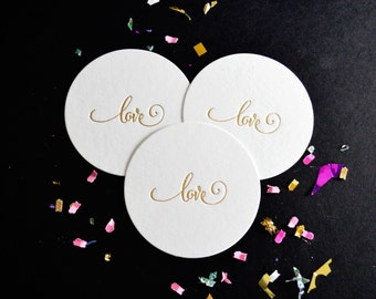 Foil Stamped Love Coasters, Gold Foil, 25 CT. Party Pack