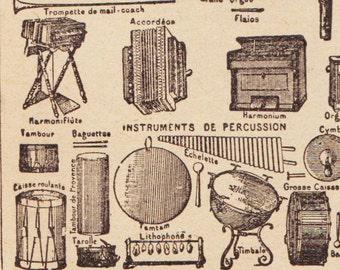 Beautiful Antique Print Encylopedia Page 1920s Engraved iIlustrations Musical instruments orchestra paper projects scrapbooking, collage