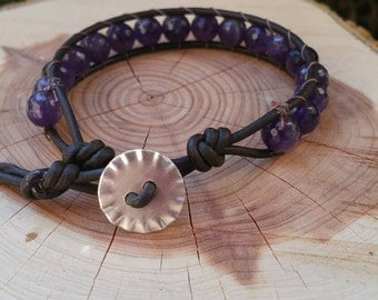 Amethyst and Leather Single Wrap Bracelet