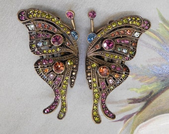 Heidi Daus Colorful Crystal Madame Butterfly Clip On Earrings    MCM45