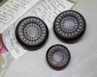 Matching Set of 3 Bakelite Coat Buttons w/Brass Filigree Embellishment