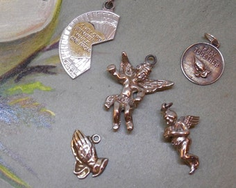 5 Sterling Silver Religious Charms for Bracelet Lot