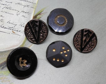 5 Victorian Black Glass Buttons w/ Gold Luster