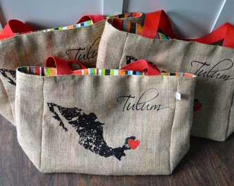 Mexico Tulum - Destination Custom Wedding Welcome Beach Tote Bags - Handmade Wedding Favors or Bridesmaids Gifts