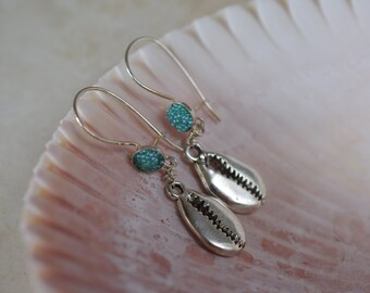Seashell Cowrie Earrings - Sterling Silver Leverback Earwires - Pick your Shell