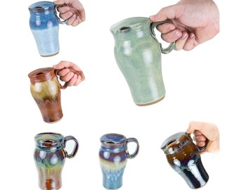 Travel Mug with Built in Splash Guard- Hand thrown stoneware mug fits in car cup holder! MADE TO ORDER- Allow 6 weeks for production.