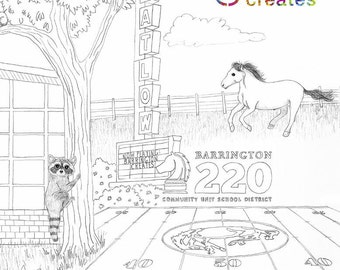 Barrington Creates - Coloring Book Sheet PDF - 8.5 x 14 (Legal Size) Digital File