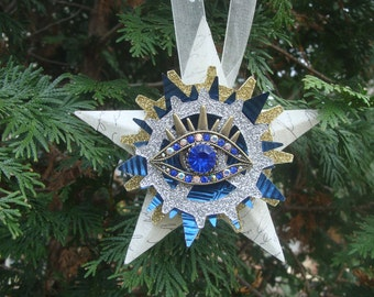 Oracle Eye, Royal Blue, Steampunk Style, Assemblage Christmas Star Ornament