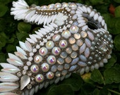 CLEARANCE Jeweled Wings Vintage Crystals Rhinestones Jewelry Cabochons White Silver Patina Angel Wings Original Art Decor- ings of Faith