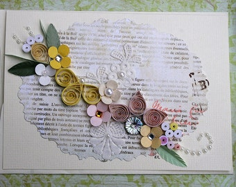 Quilled All Occasion Card -Yellow and Pinks on Shabby Lace and Newsprint Backgound - Treasury Item