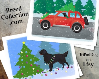 Black Flat-Coated Retriever Christmas Cards from the Breed Collection - Digital Download  Printable