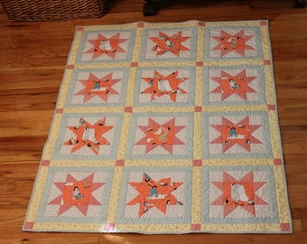Lap quilt retro fifties pink blue yellow white happy housewife laundry day, reversible