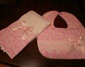 Burp Cloth & Bib Set, Pink Butterflies, Baby Girl Bib, Baby Girl Burp Cloth Set, Baby Shower, Baby Gift, Newborn, Girl Set, Girls Bib Set