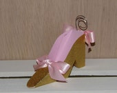 Set of 2 Pink and Gold Collection High Heel Shoe Place Card Holder