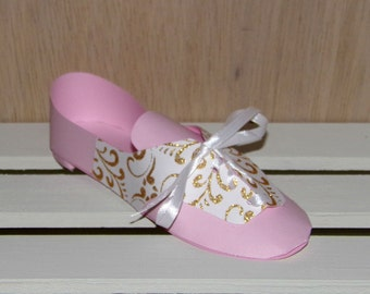 Pink and Gold Oxford Paper Shoe, One of a Kind, READY TO SHIP