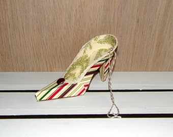 Striped Christmas Keepsake High Heel Paper Shoe Ornament