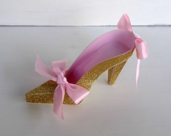 Pink and Gold High Heel Paper Shoe Favor Box, Gift Box, Centerpiece