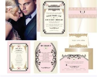 Gatsby Romance .Art deco wedding invitation suite Deposit. Invitation Sample . Printing services available