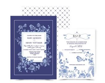 Bue China Floral wedding Invitation & RSVP Sample