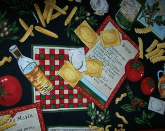 One Yard Chef's Choice Novelty Pasta fabric, Italian Pasta Fabric/ Apparel fabric/ Quilting/ Decorating/Oven Mitts or Apron