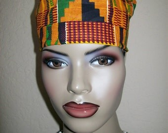 Kente #2 Women's High top Kufi hat African hat/ Kufi African Hat/ African Hats and accessories