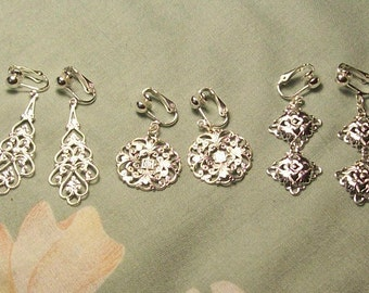 3 Pairs Silver or Gold Filigree Mix Clip On Earrings or Pierced Holiday Gift Pack