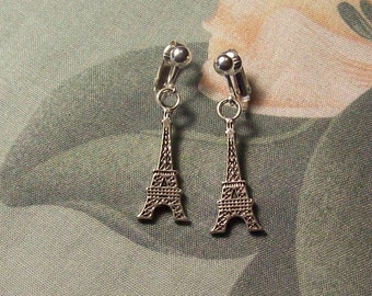 Tibetan Silver Large Eiffel Tower  Clip On Earrings or Pierced