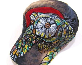 One of Kind Abstract Green Owl Tattoo Inspired Handpainted Unisex Hat (Hand Painted Initials or Names can be added)
