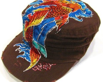 One of Kind Handpainted Japanese Koi Fish tattoo with Wave Unisex Cotton Vintage Style Hat