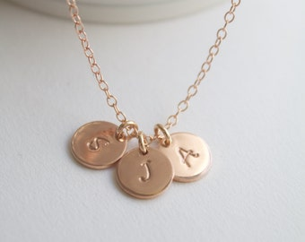 Rose gold necklace, personalised necklace, monogram necklace, layer necklace, pink gold, red gold, wedding gift