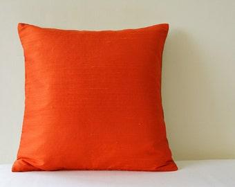 Dark Orange Dupioni Silk & Natural Linen Reversible Pillow Cover, Bright Orange and Natural Linen Accent Pillow Cover , Orange Silk Cushion