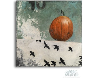 Pumpkin Original Acrylic Painting, Rustic Pumpkin Art, Halloween Painting, Vintage Style Wall Decor, Paintings for Kitchen, Halloween Decor