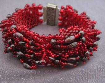 Red Beaded Bracelet, glass bead bracelet, handwoven bracelet, red bracelet