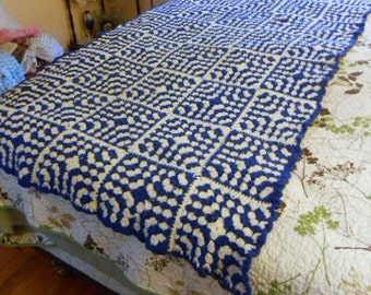 ROYAL BLUE & WHITE Granny Afghan or Handsome Bed Cover, Guy Boy Colors, Classic Hand Crochet Squares, Thick Chill Chaser Wool Blend 45 x 68