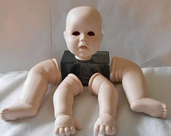 """Dehetre PORCELAIN DOLL MAKING Parts """"Punkin Seed"""" Newborn Baby Head  2 Legs & 2 Arms 1987 Vintage Kit for Single Doll, Craft Supplies #8"""