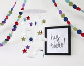 Stars And Clouds Baby Mobile- U Pick Colors- Includes Matching Garland