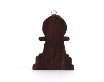 Wooden Chess Pawn Pendant Necklace, Wood Chess Piece Pendant, Chess Pawn Game Piece, Chess Accessories, Chess Fashion Necklace