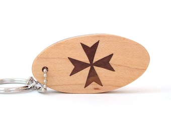 Maltese Cross Key Chain, Amalfi Cross Key Fob, Knights of Malta Key Ring, Wood Scroll Saw Key chain, Walnut