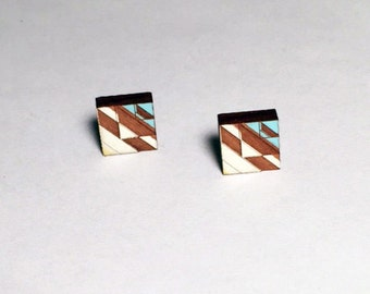 Tribal Post Earrings Blue and White 1 on Walnut