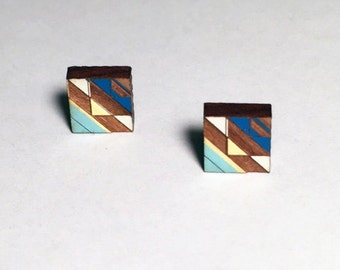 Tribal Post Earrings Blues and Yellow 1 on Walnut