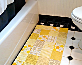 Yellow Bathroom Rug, Patchwork Bath Mat, Shower Rug, Laundry Room Rug, Nursery Rug, Dorm Room Rug, Kitchen Rug,  Area Rug, Patchwork Rug