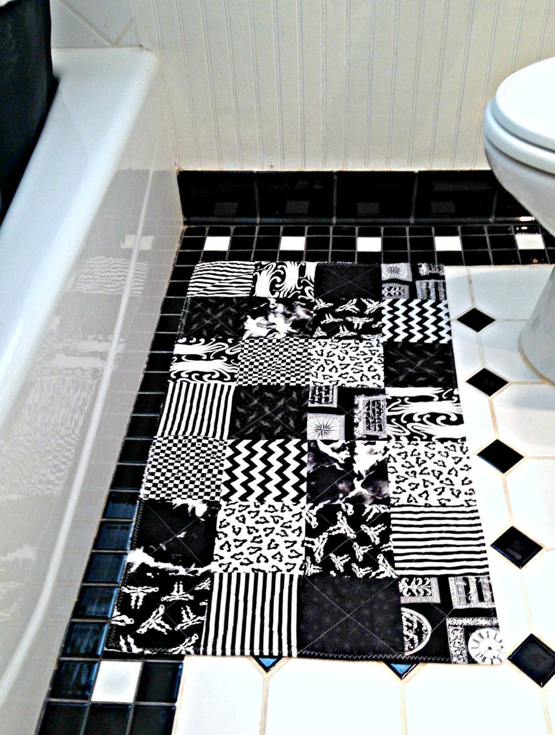 Black And White Bathroom Rug Patchwork By TheQuiltingViolinist