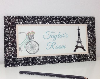 Beautiful Spring SALE Eiffel Tower In Black And White Damask Pattern Door Sign Paris  Bedroom