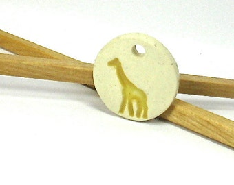 Ceramic Pendant, Stoneware Pendant - Giraffe Pendant (Handmade OOAK Ceramic Focal Pendant, Keychain, Ceramic Gift Tag, Ceramic Necklace)