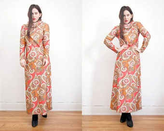 Vintage Floral Hippie Kimono Kaftan Hood Boho Maxi Dress 60's