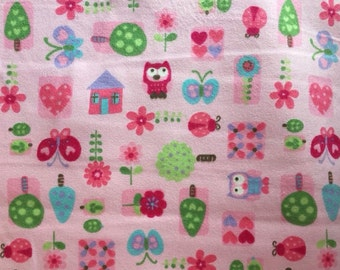 Brushed cotton/ flannel/ winceyette, pink woodland trees