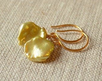 Apple Green Pearl Earrings, Gold Vermeil, Real Keishi Keshi Pearls, Soft Mint Green, Drop Earrings, Free Shipping