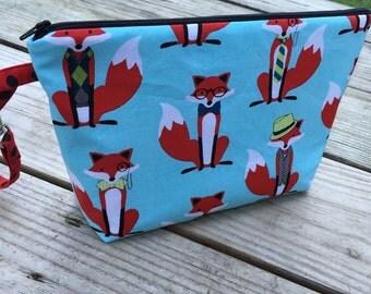 Dapper Fox, Fabric Zippered Diaper Clutch, Ready to Ship